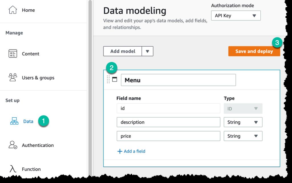 Screenshot for data modeling