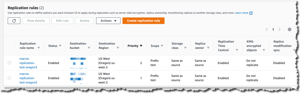 Screenshot of replication rules listing