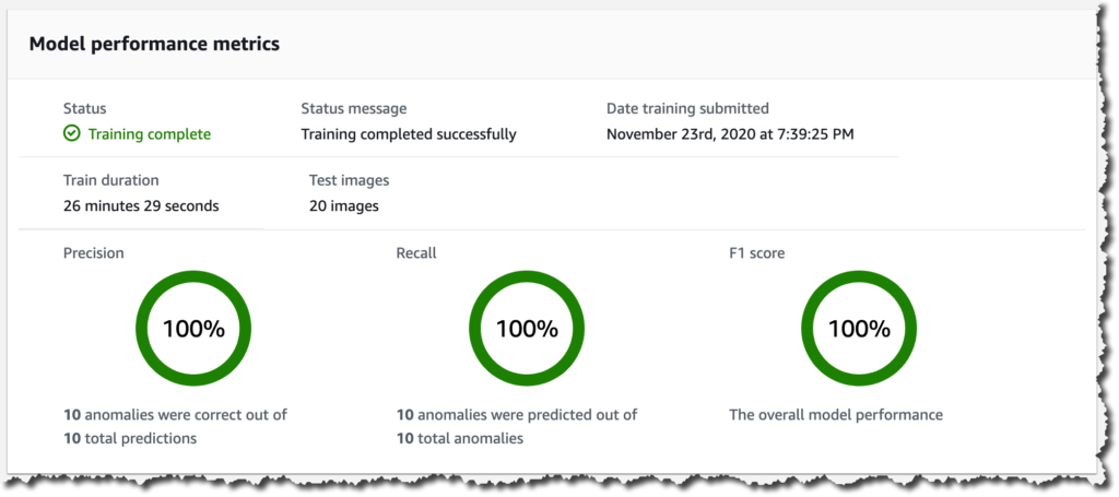 Screenshot of model performance metrics