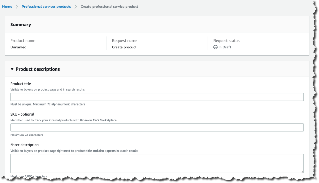 Screenshot for creating a professional service