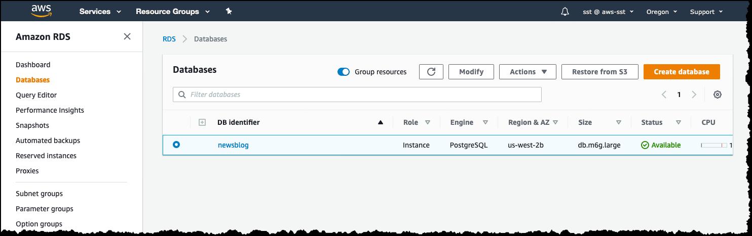 Modify RDS database