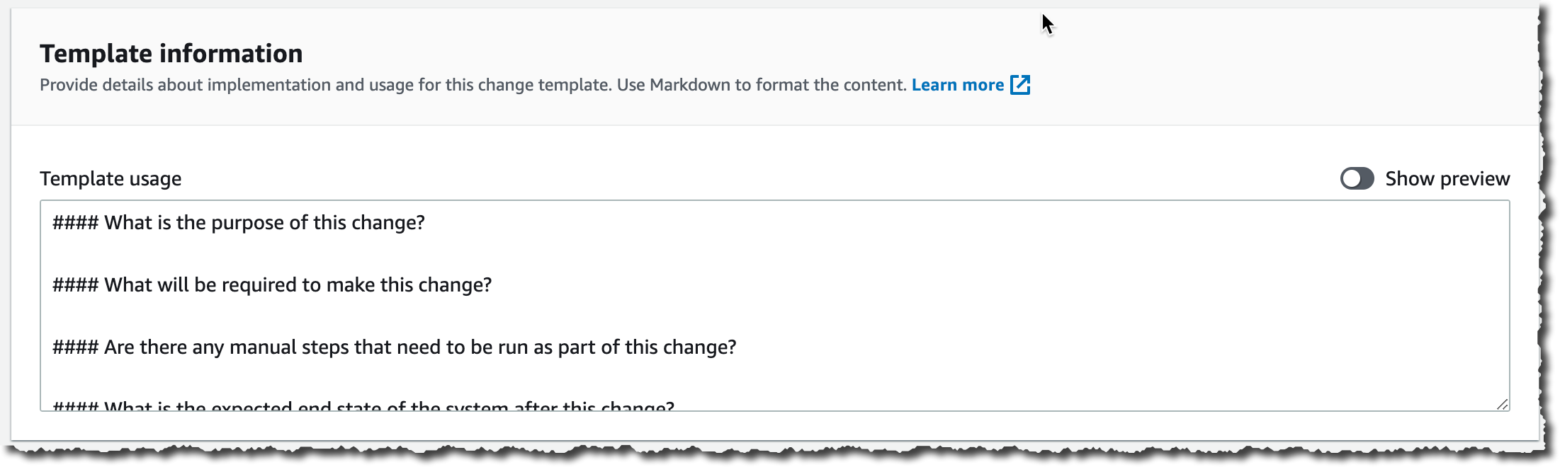 Change Manager Template Documentation