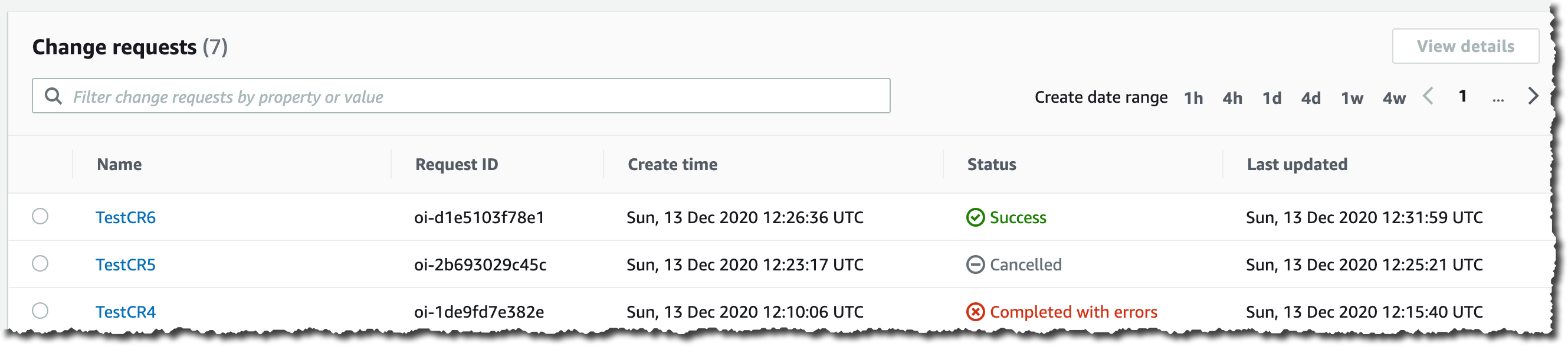 Change Manager Dashboard with Succeeded Request