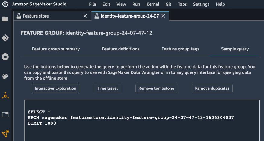 SageMaker screenshot