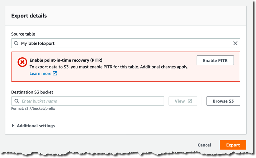DynamoDB enable PITR