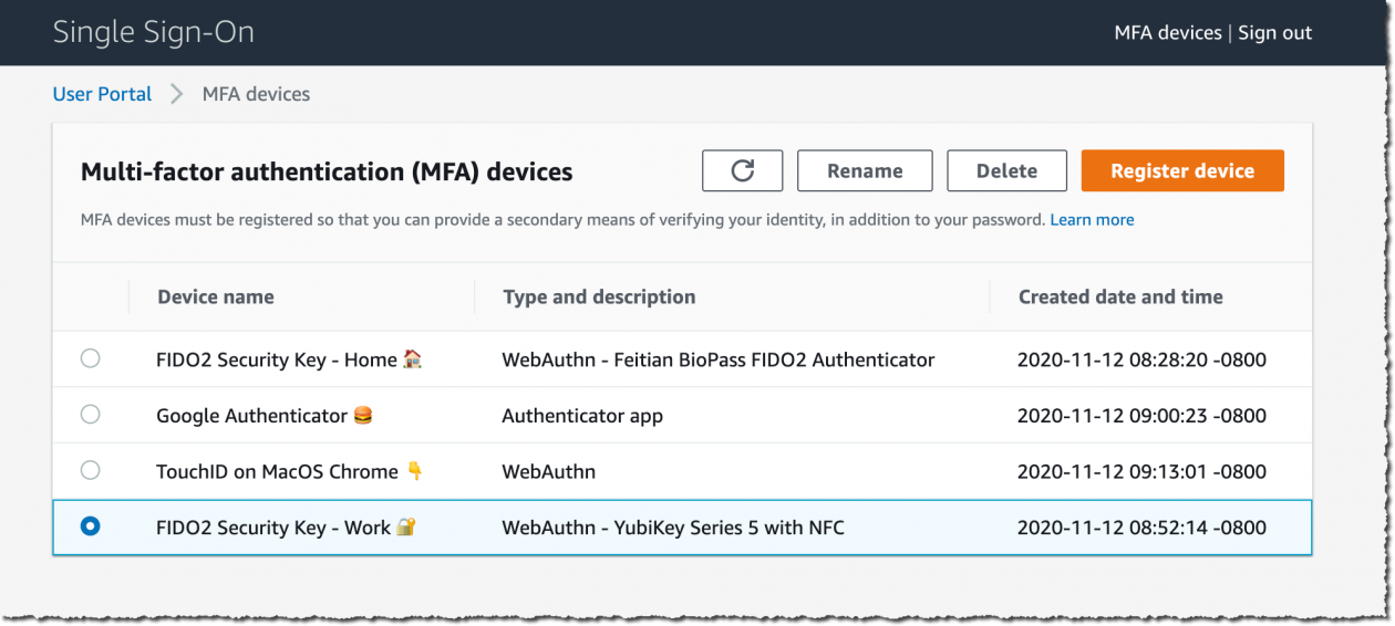 New – Multi-Factor Authentication with WebAuthn for AWS SSO
