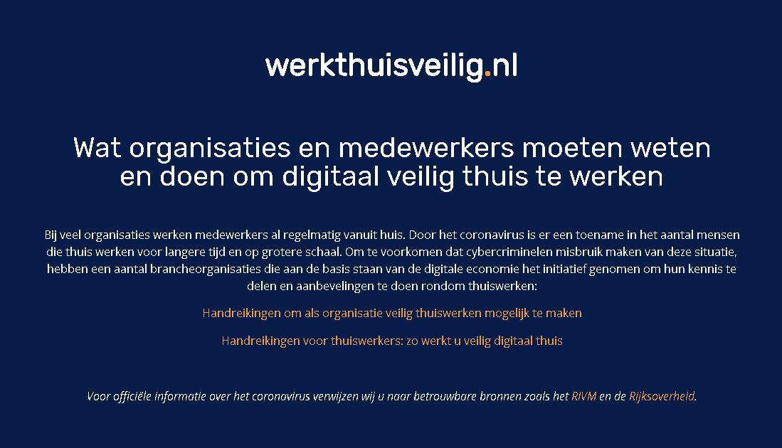 Brancheorganisaties uit de digitale infrastructuur lanceren website voor veilig thuiswerken