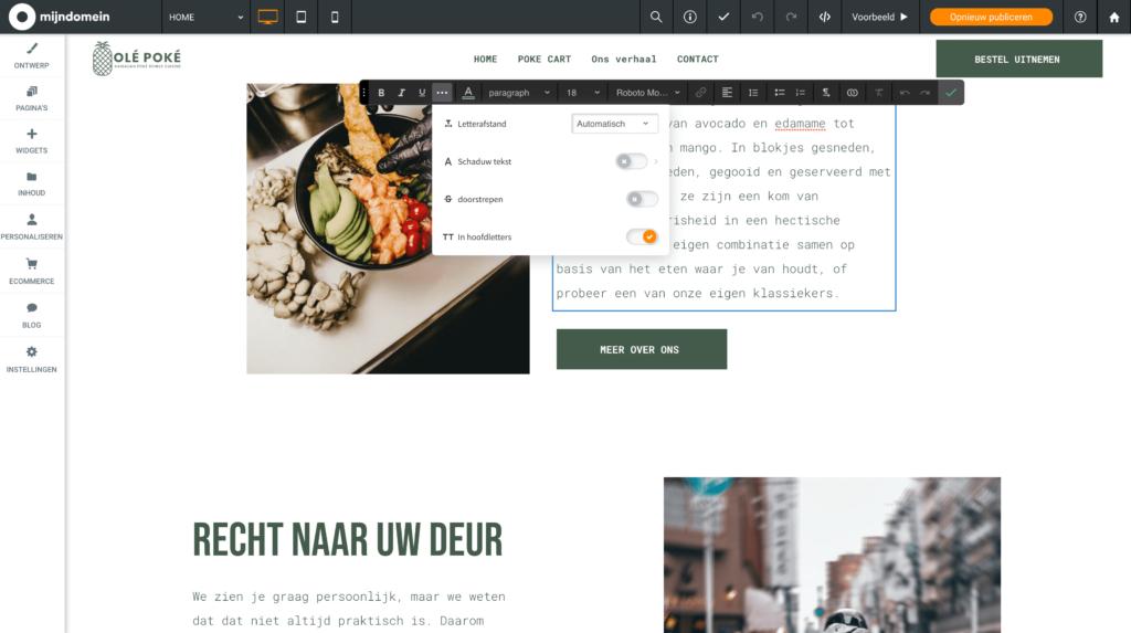 Websitemaker HOOFDLETTERS nu in de nieuwe teksteditor