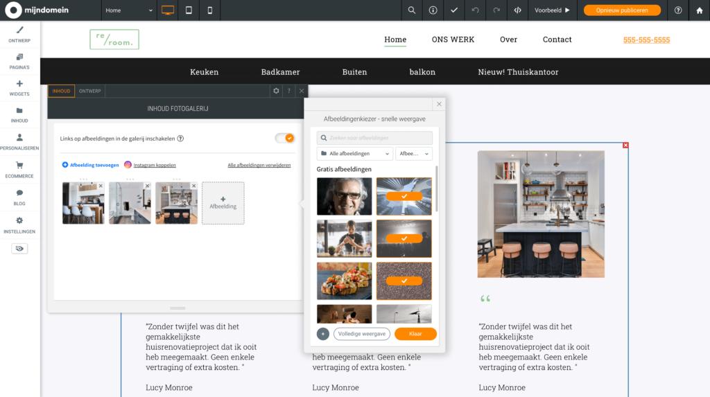 Websitemaker meer afbeeldingen selecteren