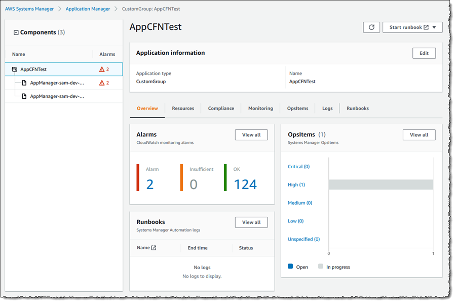 Screenshot of application components and overview