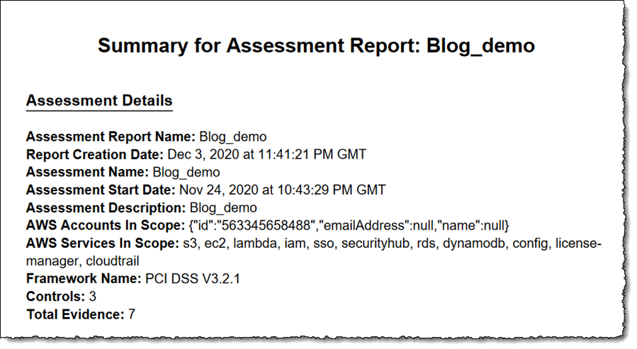 Screenshot of assessment report