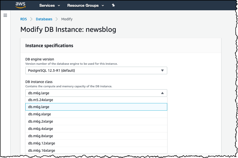 modify db instance