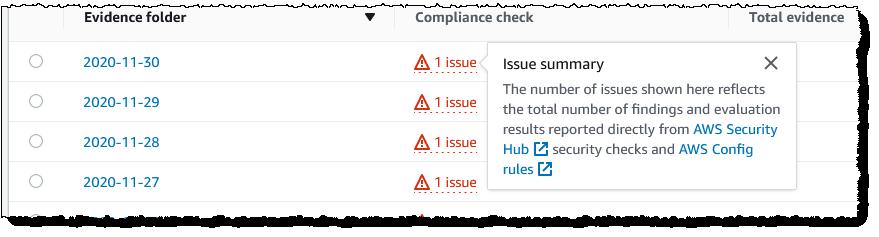 Screenshot of issue summary