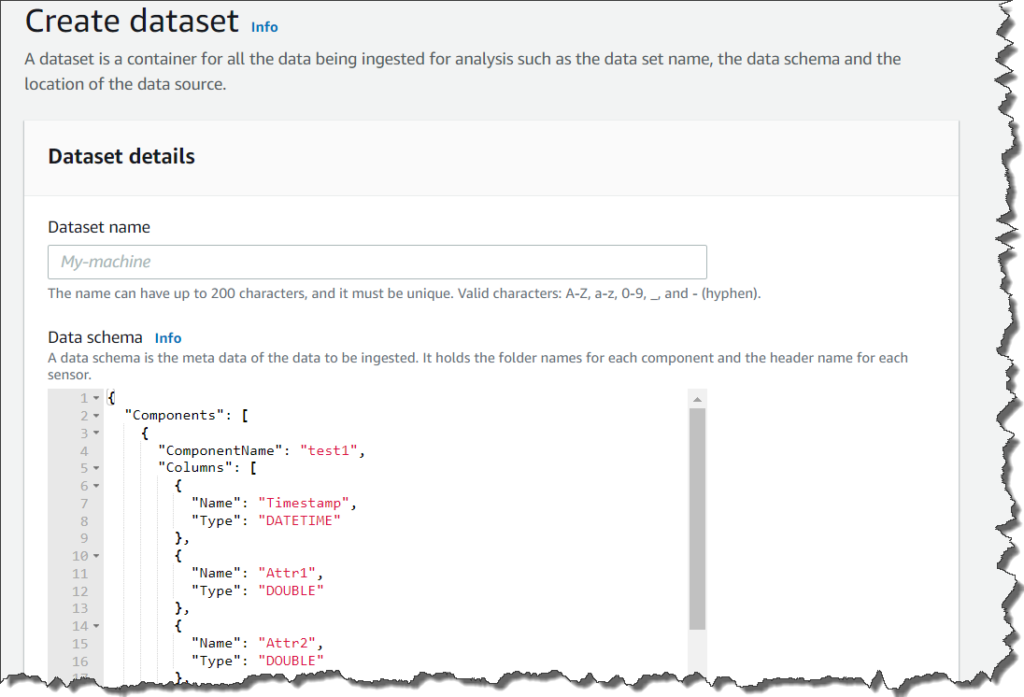 creating datasets console