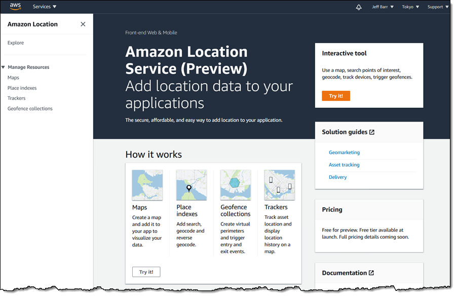 Amazon Location – Add Maps and Location Awareness to Your Applications